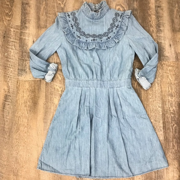 4b7a87aa7   Other Stories Embroidered Ruffled Denim Dress